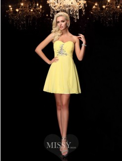 A-line/Princess Sleeveless Sweetheart Rhinestone Mini Chiffon Dresses