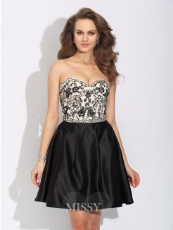 A-Line/Princess Sweetheart Bowknot Sleeveless Mini Satin Dress