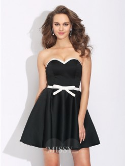 A-Line/Princess Sleeveless Sweetheart Bowknot Mini Satin Dress