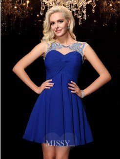 A-line/Princess Sleeveless Scoop Beading Mini Chiffon Dresses
