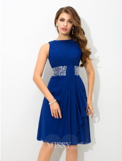 A-Line/Princess Sleeveless High Neck Beading Knee-Length Chiffon Cocktail Dress