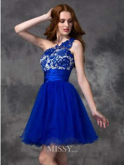 A-line/Princess One-Shoulder Lace Sleeveless Mini Satin Dresses