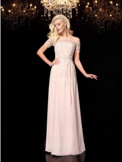 A-Line/Princess Beading Bateau Short Sleeves Floor-Length Chiffon Dresses