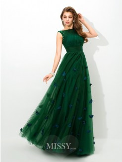 A-Line/Princess Sleeveless Sheer Neck Beading Floor-Length Net Dress