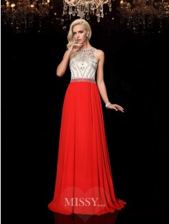 A-Line/Princess Beading Sleeveless Scoop Sweep/Brush Train Chiffon Dresses
