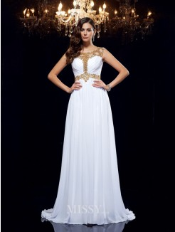 A-Line/Princess Sleeveless Scoop Beading Chiffon Sweep/Brush Train Dresses