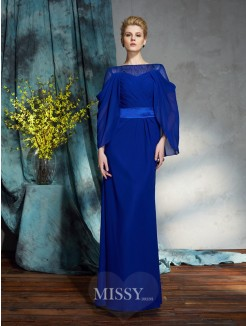 Sheath/Column Bateau Long Sleeves Chiffon Floor-Length Dresses