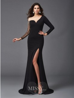 Sheath/Column Scoop 3/4 Sleeves Beading Sweep/Brush Train Spandex Dresses