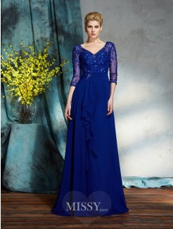 A-Line/Princess 3/4 Sleeves V-neck Sequin Chiffon Floor-Length Mother of the Bride Dresses