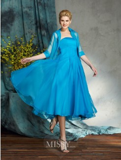 A-Line/Princess Strapless Sleeveless Organza Knee-Length Mother of the Bride Dresses