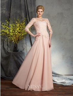 A-Line/Princess Scoop 3/4 Sleeves Applique Chiffon Floor-Length Mother of the Bride Dresses