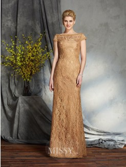 Sheath/Column Bateau Short Sleeves Lace Floor-Length Mother of the Bride Dresses