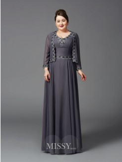 A-Line/Princess Straps Lace Sleeveless Floor-Length Chiffon Plus Size Mother of the Bride Dresses