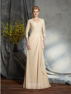 A-Line/Princess Sweetheart 3/4 Sleeves Lace Chiffon Sweep/Brush Train Mother of the Bride Dresses