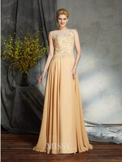 A-Line/Princess Sleeveless Scoop Chiffon Floor-Length Mother of the Bride Dress