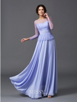 A-Line/Princess Scoop Long Sleeves Ruffles Floor-Length Chiffon Mother of the Bride Dresses