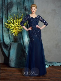 Sheath/Column 3/4 Sleeves V-neck Floor-Length Net Mother of the Bride Dress