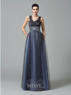 A-Line/Princess Sleeveless Straps Beading Floor-Length Net Mother of the Bride Dresses
