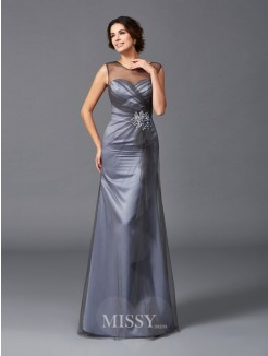 Sheath/Column Beading Sleeveless Scoop Floor-Length Net Mother of the Bride Dresses