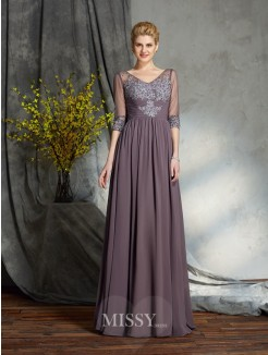 A-Line/Princess 1/2 Sleeves V-neck Floor-Length Chiffon Mother of the Bride Dress