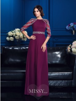 A-Line/Princess Scoop 3/4 Sleeves Chiffon Beading Floor-Length Mother Of The Bride Dresses