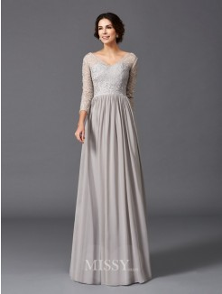 A-Line/Princess 3/4 Sleeves V-neck Ruffles Floor-Length Chiffon Mother of the Bride Dresses