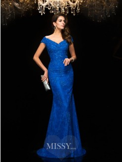 Trumpet/Mermaid Sleeveless V-neck Sweep/Brush Train Lace Mother of the Bride Dresses