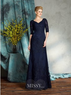 Sheath/Column 1/2 Sleeves V-neck Applique Satin Floor-Length Mother of the Bride Dresses