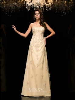A-Line/Princess Sleeveless Sweetheart Net Floor-Length Mother of the Bride Dresses