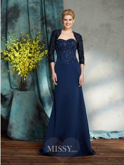 Sheath/Column Sleeveless Sweetheart Satin Floor-Length Mother of the Bride Dresses