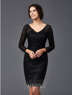 Sheath/Column Lace Long Sleeves V-neck Knee-Length Elastic Woven Satin Mother of the Bride Dresses