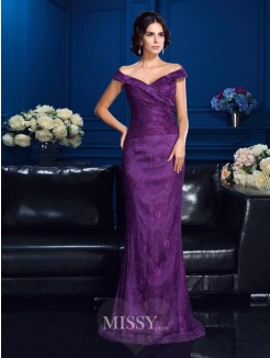 Sheath/Column Off-the-Shoulder Sleeveless Sweep/Brush Train Lace Mother Of The Bride Dresses
