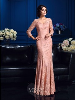 Sheath/Column 3/4 Sleeves V-neck Floor-Length Lace Mother Of The Bride Dresses