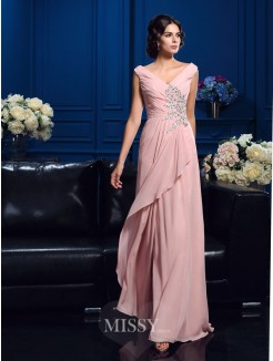 A-Line/Princess Sleeveless V-neck Beading Sweep/Brush Train Chiffon Mother Of The Bride Dresses