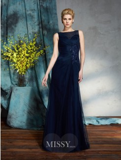 Sheath/Column Bateau Sleeveless Floor-Length Net Mother of the Bride Dresses