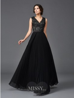 A-Line/Princess Sleeveless V-neck Lace Floor-Length Chiffon Mother of the Bride Dresses