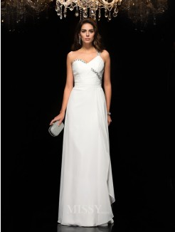 A-Line/Princess Sleeveless One-Shoulder Chiffon Beading Floor-Length Dresses