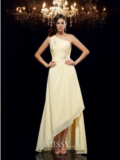 A-Line/Princess One-Shoulder Beading Sleeveless Asymmetrical Chiffon Dresses
