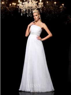 A-Line/Princess Sleeveless One-Shoulder Beading Floor-Length Organza Dresses