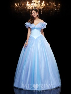 Cinderella Off-the-Shoulder Sleeveless Beading Ball Gown Net Floor-Length Dresses