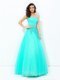 A-Line/Princess Strapless Sleeveless Beading Elastic Woven Satin Floor-Length Dresses