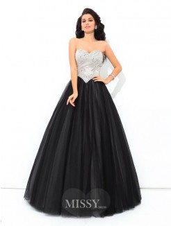 Ball Gown Sleeveless Sweetheart Paillette Floor-Length Net Quinceanera Dress