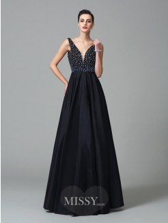 A-Line/Princess Sleeveless Straps Beading Floor-Length Taffeta Dresses