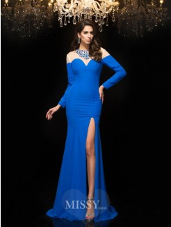 Sheath/Column Jewel Long Sleeves Beading Chiffon Floor-Length Dresses
