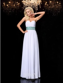 A-line/Princess Sleeveless Floor-Length Sweetheart Rhinestone Chiffon Dresses