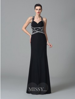 Sheath/Column Sleeveless Straps Beading Floor-Length Chiffon Dresses