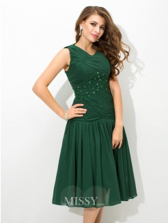 A-Line/Princess Sleeveless Scoop Pleats Knee-Length Chiffon Dresses