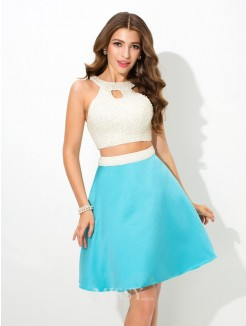 A-Line/Princess Jersey Sleeveless Beading Mini Satin Two Piece Dresses