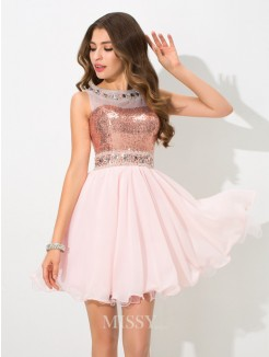 A-Line/Princess Sleeveless Sheer Neck Sequin Mini Chiffon Cocktail Dresses