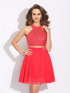 A-Line/Princess Sleeveless Jewel Crystal Mini Two Piece Chiffon Dress